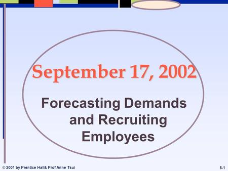 © 2001 by Prentice Hall& Prof Anne Tsui 5-1 September 17, 2002 Forecasting Demands and Recruiting Employees.