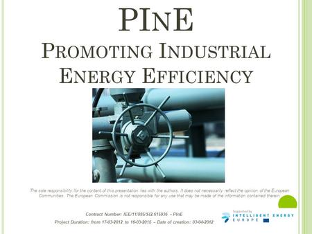 Contract Number: IEE/11/885/SI2.615936 - PInE Project Duration: from 17-03-2012 to 16-03-2015 – Date of creation: 03-04-2012 PI N E P ROMOTING I NDUSTRIAL.