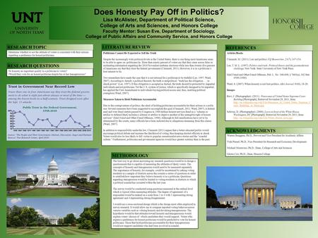 Does Honesty Pay Off in Politics? Lisa McAlister, Department of Political Science, College of Arts and Sciences, and Honors College Faculty Mentor: Susan.