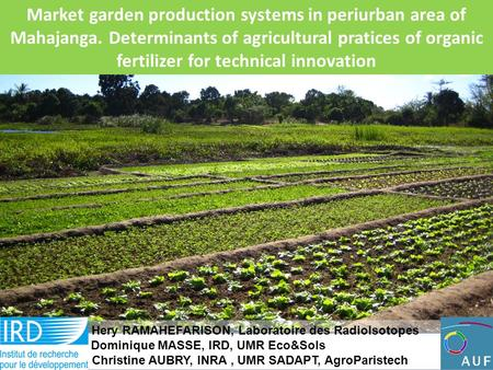 Market garden production systems in periurban area of Mahajanga. Determinants of agricultural pratices of organic fertilizer for technical innovation Hery.