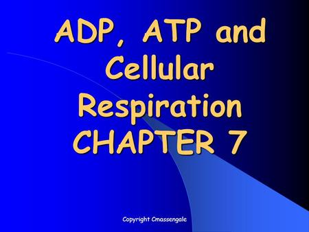 ADP, ATP and Cellular Respiration CHAPTER 7 Copyright Cmassengale.