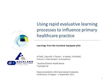 Using rapid evaluative learning processes to influence primary healthcare practice 1 Learnings from the Auckland Equipped pilot A Field 2, J Bycroft 1,