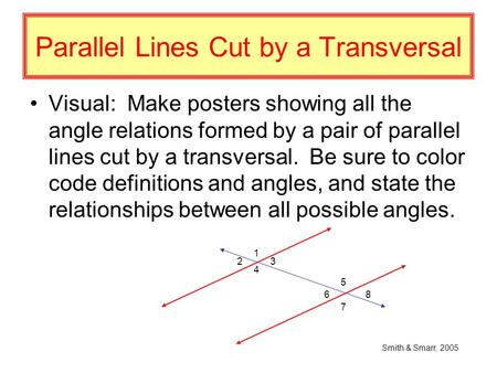 Parallel Lines Cut by a Transversal Visual: Make posters showing all the angle relations formed by a pair of parallel lines cut by a transversal. Be sure.