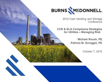 2015 Coal Handling and Storage Conference CCR & ELG Compliance Strategies for Utilities – Managing Risk Michael Roush, PE Patricia M. Scroggin, PE October.