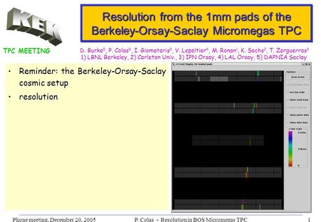 Phone meeting, December 20, 2005P. Colas - Resolution in BOS Micromegas TPC1 Resolution from the 1mm pads of the Berkeley-Orsay-Saclay Micromegas TPC Reminder: