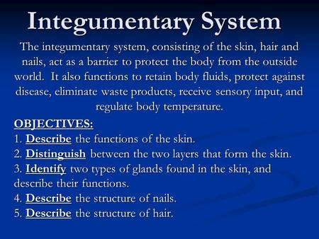 Integumentary System The integumentary system, consisting of the skin, hair and nails, act as a barrier to protect the body from the outside world. It.