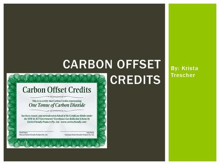 By: Krista Trescher CARBON OFFSET CREDITS.  Offsetting is a tool that allows people or companies to invest in projects that reduce carbon emissions.