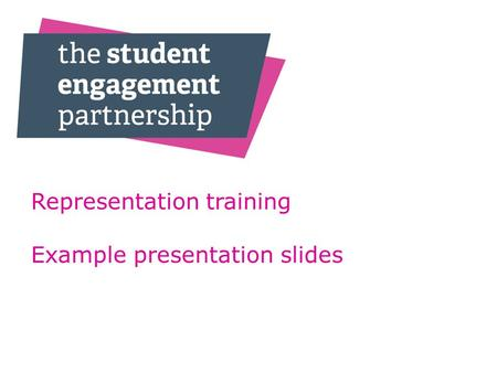 Representation training Example presentation slides