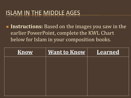 KnowWant to KnowLearned  Instructions: Based on the images you saw in the earlier PowerPoint, complete the KWL Chart below for Islam in your composition.