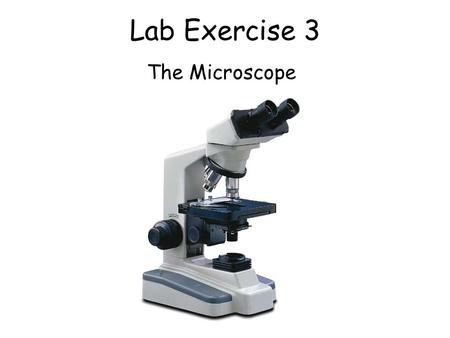 Lab Exercise 3 The Microscope. How to properly carry the microscope.