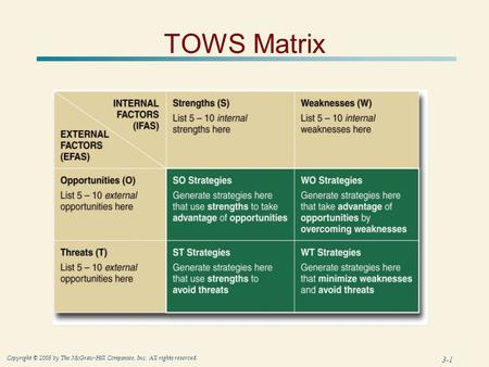 3-1 Copyright © 2005 by The McGraw-Hill Companies, Inc. All rights reserved. TOWS Matrix.