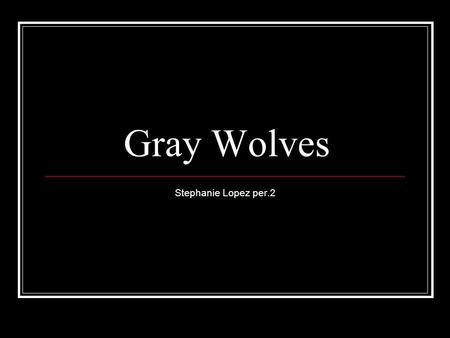 Gray Wolves Stephanie Lopez per.2. Basic info on wolves Wolves travel in packs They use strategy to kill their prey. They use their howls to communicate.