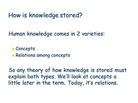 1 How is knowledge stored? Human knowledge comes in 2 varieties: Concepts Concepts Relations among concepts Relations among concepts So any theory of how.