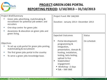 Copyright Reserved GreenTech Malaysia PROJECT:GREEN JOBS PORTAL REPORTING PERIOD: 1/10/2013 – 31/10/2013 1 Project Brief/Summary  Green jobs advertising,