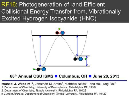 RF16: Photogeneration of, and Efficient Collisional Energy Transfer from, Vibrationally Excited Hydrogen Isocyanide (HNC) Michael J. Wilhelm 1,#, Jonathan.