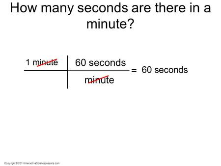 Copyright © 2011 InteractiveScienceLessons.com 1 minute minute 60 seconds How many seconds are there in a minute? = 60 seconds.