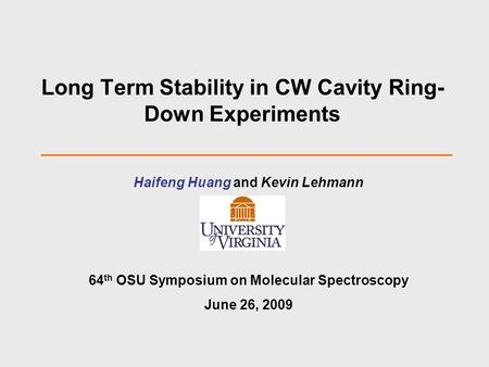 Long Term Stability in CW Cavity Ring-Down Experiments
