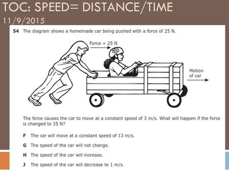 TOC: SPEED= DISTANCE/TIME 11/9/2015. MOTION  Occurs when an object changes its position relative to a reference point.  REFERENCE POINT – A place.