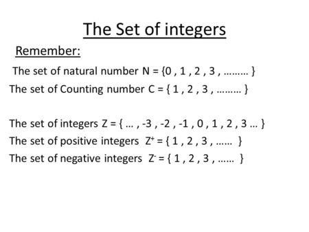 The Set of integers Remember: The set of natural number N = {0, 1, 2, 3, ……… } The set of Counting number C = { 1, 2, 3, ……… } The set of integers Z =