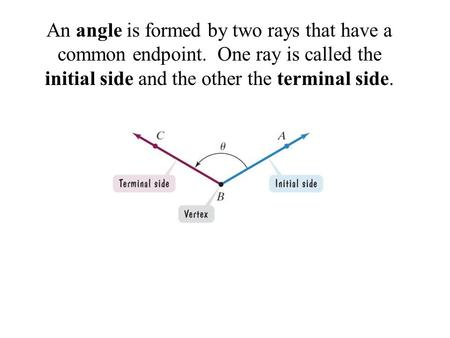 An angle is formed by two rays that have a common endpoint. One ray is called the initial side and the other the terminal side.
