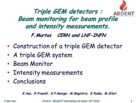 F.Murtas1 CNAO- ARDENT Workshop October 19 th 2012 Triple GEM detectors : Beam monitoring for beam profile and intensity measurements. Construction of.