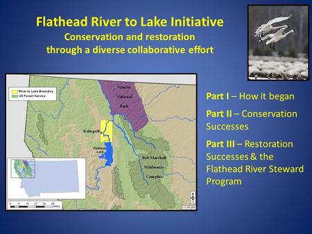 Flathead River to Lake Initiative Conservation and restoration through a diverse collaborative effort Part I – How it began Part II – Conservation Successes.