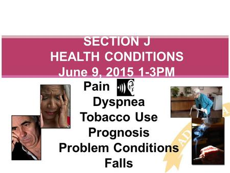 Pain - Dyspnea Tobacco Use Prognosis Problem Conditions Falls SECTION J HEALTH CONDITIONS June 9, 2015 1-3PM.