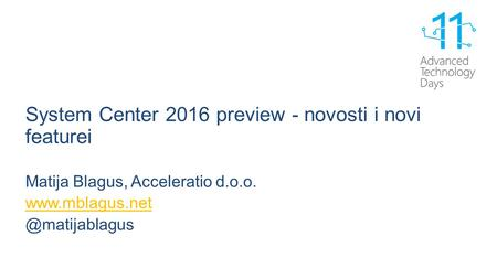 System Center 2016 preview - novosti i novi featurei