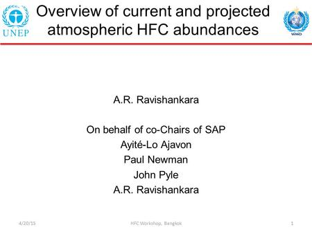 Overview of current and projected atmospheric HFC abundances A.R. Ravishankara On behalf of co-Chairs of SAP Ayité-Lo Ajavon Paul Newman John Pyle A.R.
