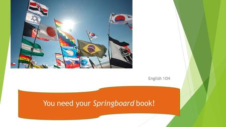 English 10H You need your Springboard book!. Turn in your homework after:  You need to have both the titles AND authors of the work. (circle these) 