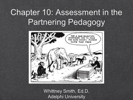 Chapter 10: Assessment in the Partnering Pedagogy Whittney Smith, Ed.D. Adelphi University Whittney Smith, Ed.D. Adelphi University.