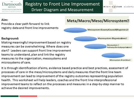 Registry to Front Line Improvement