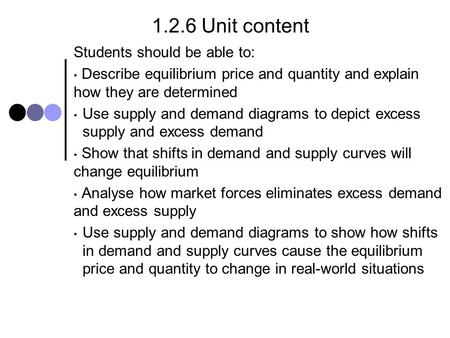 1.2.6 Unit content Students should be able to: Describe equilibrium price and quantity and explain how they are determined Use supply and demand diagrams.