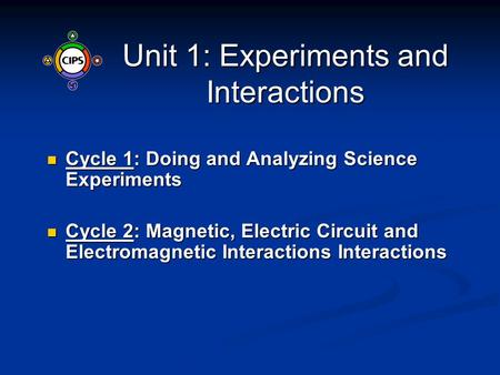 Unit 1: Experiments and Interactions Cycle 1: Doing and Analyzing Science Experiments Cycle 1: Doing and Analyzing Science Experiments Cycle 2: Magnetic,
