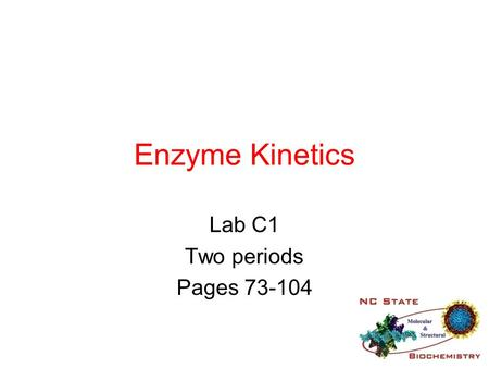 Enzyme Kinetics Lab C1 Two periods Pages 73-104. Protein Chemistry This begins a 6 day journey into the field of protein chemistry You will learn a set.