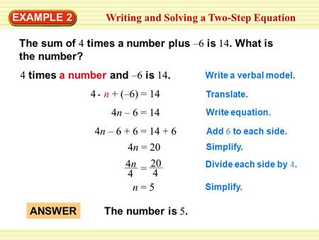 Writing and Solving a Two-Step Equation EXAMPLE 2 The sum of 4 times a number plus –6 is 14. What is the number? 4 times a number and –6 is 14. Write a.