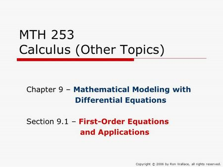MTH 253 Calculus (Other Topics)