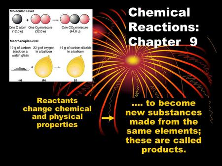 Chemical Reactions: Chapter 9 Reactants change chemical and physical properties …. to become new substances made from the same elements; these are called.
