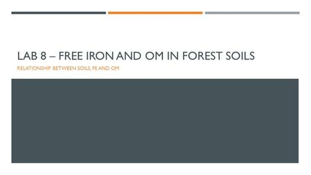 Lab 8 – Free Iron and OM in Forest Soils