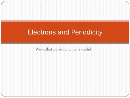 Wow, that periodic table is useful. Electrons and Periodicity.
