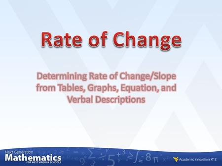 Rate of Change Directions: On the following slide, copy the equations into your notebook and and record the correct letter and ROC next to the equation.
