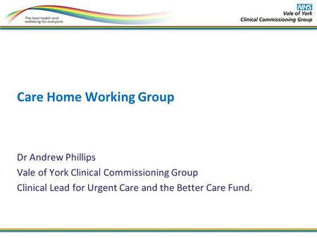 Care Home Working Group Dr Andrew Phillips Vale of York Clinical Commissioning Group Clinical Lead for Urgent Care and the Better Care Fund.