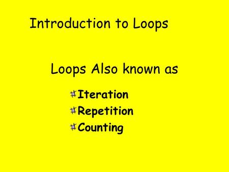 Introduction to Loops Iteration Repetition Counting Loops Also known as.