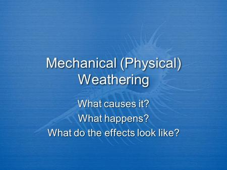 Mechanical (Physical) Weathering What causes it? What happens? What do the effects look like? What causes it? What happens? What do the effects look like?
