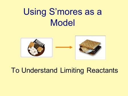 Using S'mores as a Model To Understand Limiting Reactants.
