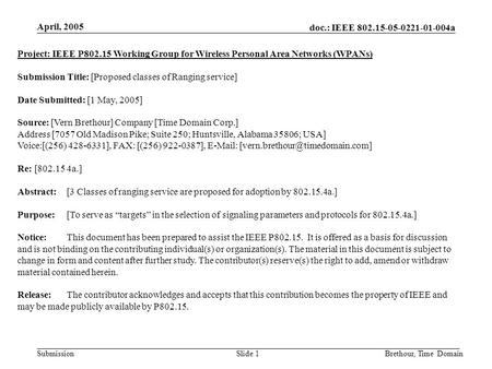 Doc.: IEEE 802.15-05-0221-01-004a Submission April, 2005 Brethour, Time DomainSlide 1 Project: IEEE P802.15 Working Group for Wireless Personal Area Networks.