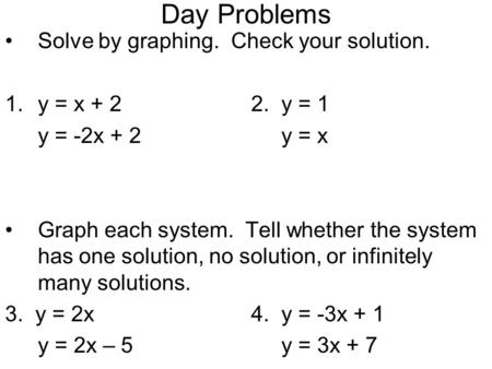 Day Problems Solve by graphing. Check your solution. 1.y = x + 22. y = 1 y = -2x + 2 y = x Graph each system. Tell whether the system has one solution,