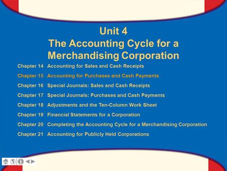 0 Glencoe Accounting Unit 4 Chapter 15 Copyright © by The McGraw-Hill Companies, Inc. All rights reserved. Unit 4 The Accounting Cycle for a Merchandising.