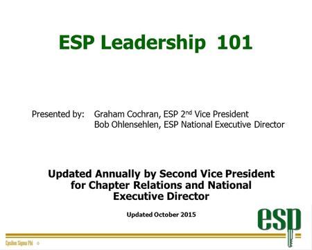 ESP Leadership 101 Presented by: Graham Cochran, ESP 2 nd Vice President Bob Ohlensehlen, ESP National Executive Director Updated Annually by Second Vice.