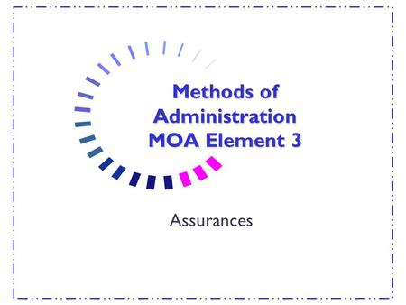 Methods of Administration MOA Element 3 Assurances.